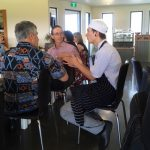 Chef and guests at the Mountain River Wines restaurant